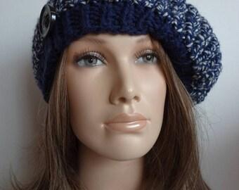 One size dark blue, white variegated women beret