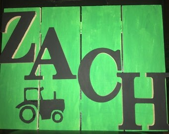 Personalized wall sign. Room decor. John Deere