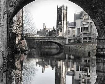 Manchester Cathedral Under Bridge