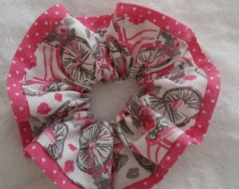 Pink bicycle scrunchie