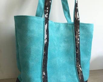 Suede tote bag size M square sequins