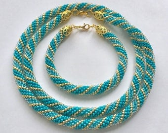 Beaded Crochet Jewelry Set, Beaded Crochet Rope Necklace and Bracelet