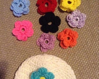 On Sale 20% Baby Girl, Crochet Flower Baby, hat with interchangeable  flowers set