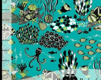 Myyry the Diver in Turquoise/Apple by Paapii Design is Organic Cotton Jersey Stretch Fabric