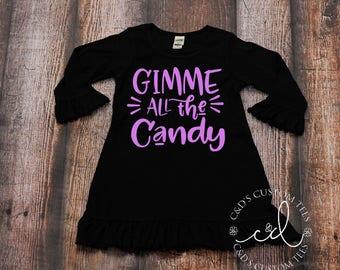 Girls Halloween Shirt - Gimme All The Candy Dress - Halloween Dress - Girls Halloween Outfit - Halloween Tee - Halloween Pumpkin Shirt