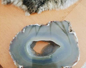 Geode paper weight, large agate slice, agate paper weight, grey agate, grey geode, grey crystal