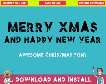 CHRISTMAS FONT - Xmas Font Digital Fonts – Font Download – Instant Download - Only CAPS Letters - Downloadable font Otf Installable font
