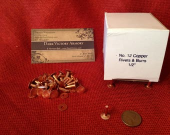 """Copper Rivets & Burrs #12 x 1/2"""" Your choice of quantity - Made in USA SCA belt"""