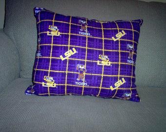 Handmade Pillow Made Using L S U Fabric