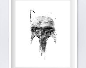 Boba Fett, Art Print, Watercolor, Wall Art, Star Wars, Hunter, Yoda, Darth Vader, Boba Fett Poster, Illustration, Download, Gift, Home Decor