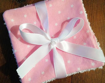 Pink 5 wipes of bamboo and cotton Terry