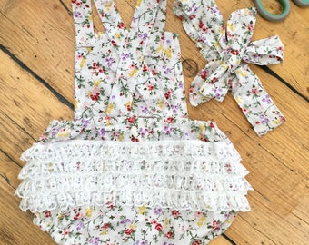 Frilly baby romper, vintage look, handmade, floral