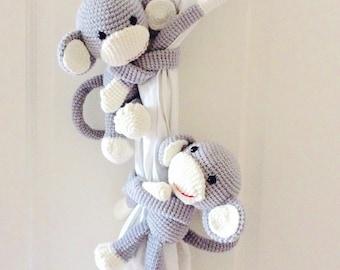 PRE-Order: Light Grey Monkey Curtain Tie back, Crochet Monkey Curtain Tieback, Monkey Tieback, Monkey Toy, Curtain tieback, Long arm monkey