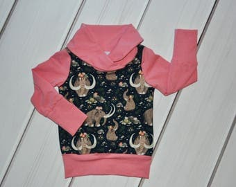 Grow with Me Sweater, Floral Kids Hoodie, Cowl Sweater, Childrens Clothes, Toddler Outfit, Baby Shower Gift, Girls Clothes, Mammoth Shirt