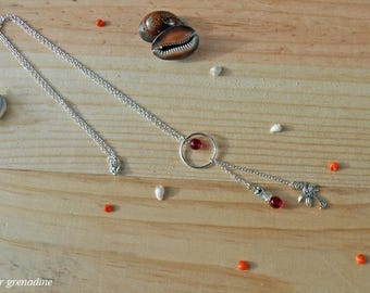 Necklace exotic Palm tree, red bead, jewelry, Bohemian style, idea cadeauSaint Valentine's day