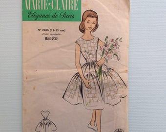 Pattern sewing vintage pattern Claire Elegance of Paris, 14 dress pattern, size 34