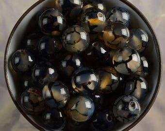 H0076 dragon vein AGATE 8 beads