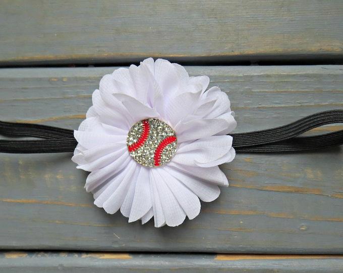 White Baseball Headband, Baby Headband, Newborn Headband, Baby Girl Headband, Flower Headband, Baby Shower Gift, Gifts For Girls