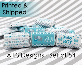 It's a Boy Elephant Baby Shower Party Favor / Teal Blue and Gray Boy Baby Shower Stickers for Hershey's Miniatures Candy Bars (Set of 54)