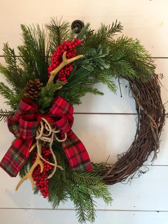 Items similar to antler wreath deer wreath antler decor for Antler christmas wreath