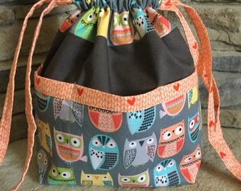 Drawstring Project Bag With Outside Pockets - Hand Sewn -  WOODLAND OWLS