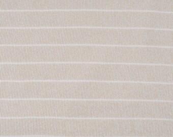 Tissu au mètre Jersey viscose côtelé vert pâle/beige rayé en 145cm n°723