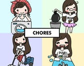 CHORES Stickers / Planner Stickers, Clean Up, Tidy, House Chores, Wash Dish, Vacuum, Laundry, Fold Clothes, Take out Trash, Calendar / SG6