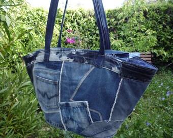 XXL jeans zip blue patchwork tote bag