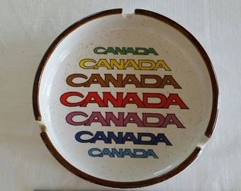vintage canada ceramic ashtray 1970 's - antique art cigarette cigar tobacco korea smoking knick knack canadian dish bowl candy deco