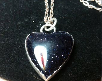 Blue Goldstone Heart Valentines Day Necklace
