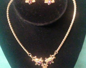 Vintage Barclay Gold Tone Purple Rhinestone Necklace and Matching Screw Back Earrings