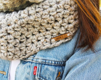 Gray tweed scarf, gray scarf, gray infinity scarf, gray cowl scarf, cowl scarf, knitted scarf