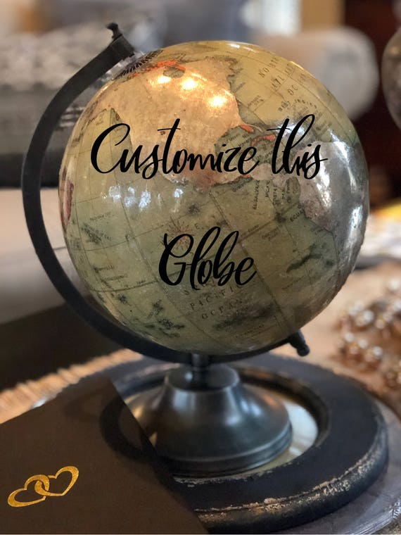 Custom Calligraphy Mercury Glass Style Globe / Choice of Wording /Radiant Mercury Glass Crackle Vintage Finish - Muted Coloring - Guestbook