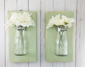 Good Bathroom Wall Decor   Distressed Home Decor   Wall Vase   Milk Bottles    Wall Sconce