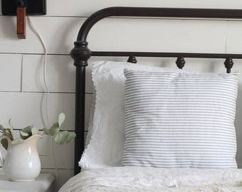 Ticking Stripe Pillow Cover - Available in Blue, Tan, and Black Stripes