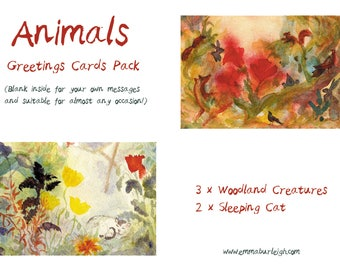 Animals : Greeting Cards Pack of 5 cards