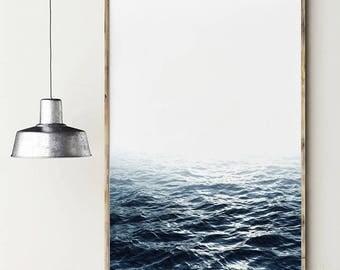 Blue ocean. Nature in calm.  Beach printable poster. Ocean printable. Nature photography artwork. Instant download