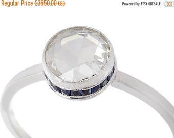 ON SALE Rose Cut Sapphire Diamond Ring | Solitaire Vintage Rose Cut Ring of Platinum | Sapphire Accents Estate Diamond Ring  || 17893