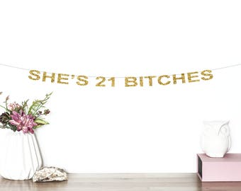 She's 21 Bitches Glitter Banner | 21st Birthday Party Banner | Twenty One | 21st Party Decor | Finally Legal | 21st Birthday Decorations