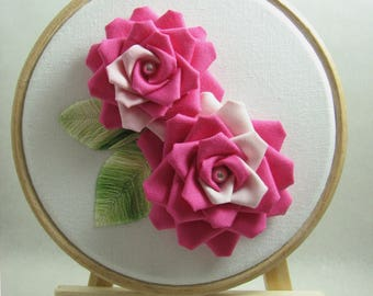 Double Pink Roses with Embroidery leaves / Framed Tsumami Art / Tsumami Kanzashi / Geisha Inspired/ Gift for her