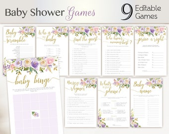 Baby Shower Games purple gold lilac, Editable Baby Shower Game Package Set Bundle, Editable Games Baby Shower gold purple and pink Game Set,