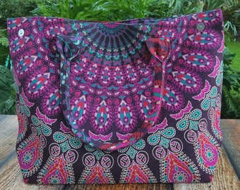 Mandala handbag, mandala tote bag, Mandala tapestry bag, Mandala tote, Boho handbag, Bohemian bag, Mandala bag, Tribal bag, Gypsy bag