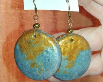 Teal and gold disk polymer clay earrings