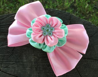 Kanzashi bow. Bow for girl. School hair bow. Back to school. Pink bow for hair. Pink hair clip. Gift for girl. Bow hair for girl. Pink bow.