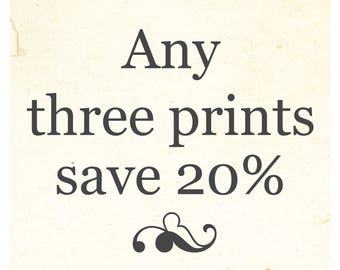 SALE! Save 20% when you purchase any three prints