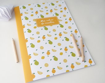 Large illustrated lemons and pears 20x28cm recipe book