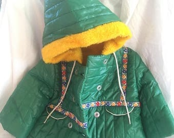 Vintage Baby (12 month) Jacket, green and yellow, pointy hood, SO CUTE
