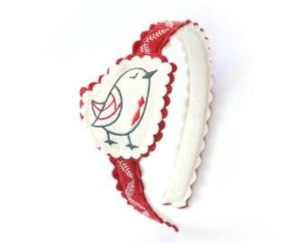 Bird Headband  / Wool Felt Headband / Woodland Accessory / Girl's Felt Headband / Hair Accessory / Embroidered Headband