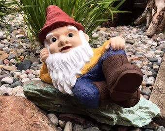 Vintage garden gnome hand painted