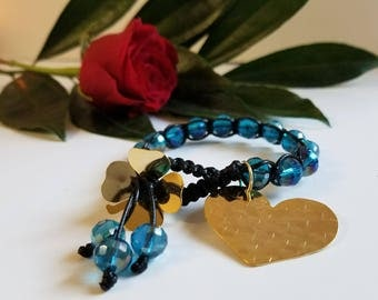 Blue crystals with heart bracelet